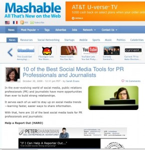 Mashable PR Tools