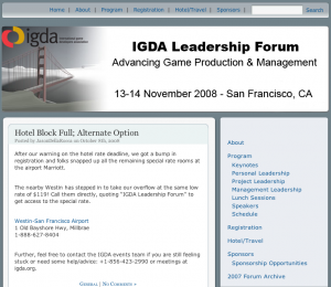 IDGA Conference Website