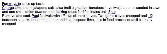 Apple Dictation results of recipe